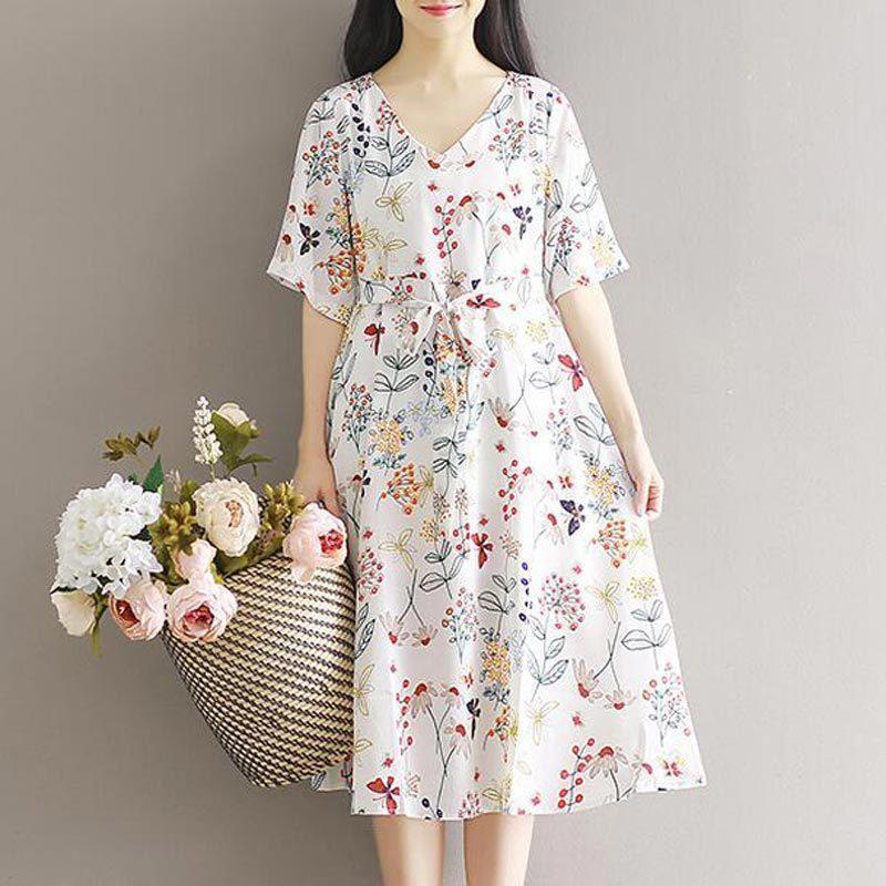 7a7f87b215 Cute Floral Print Chiffon Women Summer Dress Short Sleeve V Neck Loose  Casual High Quality 2017 New Fashion Midi Dress Female Green Dress Juniors  Long Dress ...