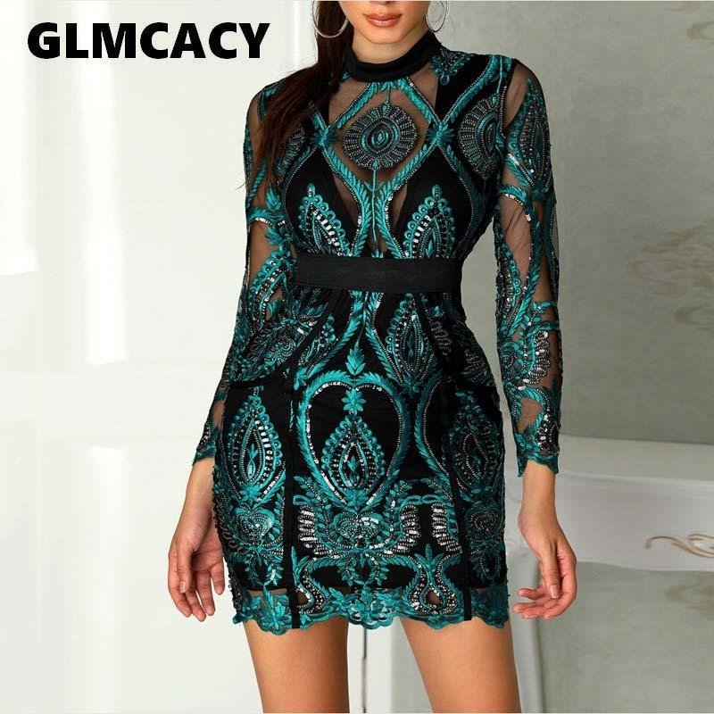 Women Sexy Long Sleeve Mesh See Through Sequined Dresses Ladies Hollow Out Lace Maxi Formal Party Elegant Bodycon Dress J190505