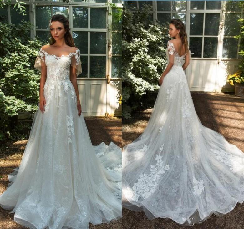 764cf5f8ea Discount Vintage 2018 Full Lace Wedding Dresses A Line Cap Sleeves Retro  Bridal Gowns Milla Novia Summer Beach Boho Long Bridal Gowns Sweep Train A  Line ...