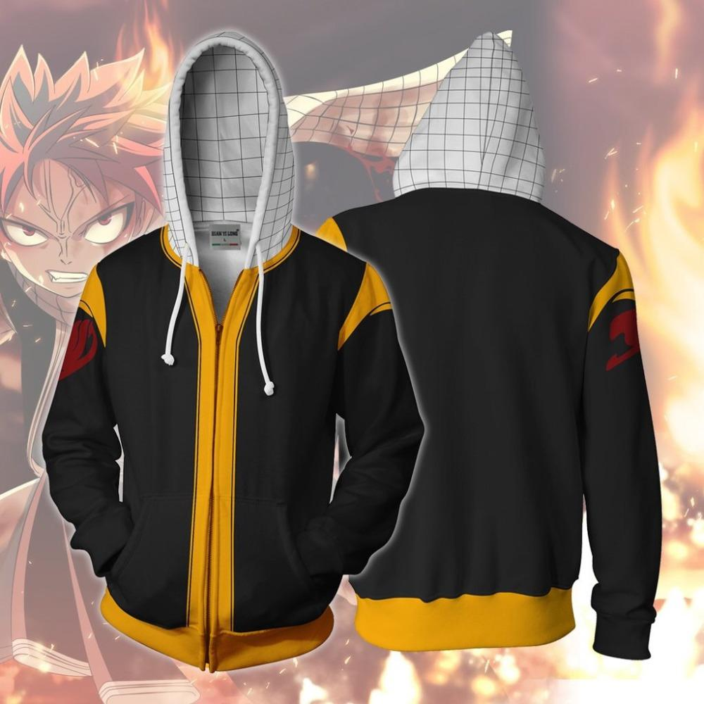 2019 Autumn Winter 3D Print Fairy Tail Cosplay Hoodies Sweatshirts Men And woman Casual Zipper hooded Jacket clothing