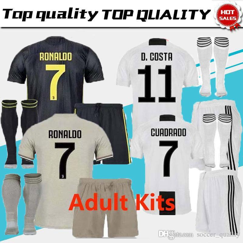 a05bc505f27c3 Juventus Away Soccer Jersey Home Kits+socks RONALDO 2018 19 Juven ...