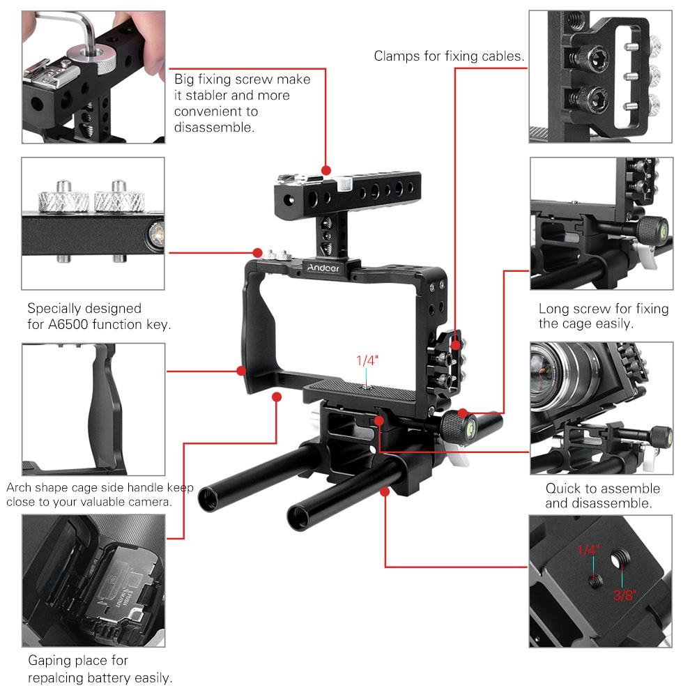 Professional Video Cage Rig Kit Film Making System w/15mm Rod for Sony A6000 A6300 A6500 ILDC Mirrorless Camera Camcorder