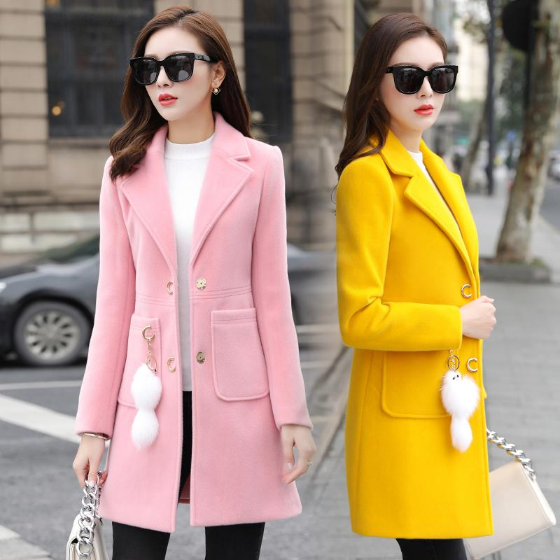 winter woolen jacket women coat long 2019 new autumn and winter woolen parka women's clothing fashion slim ladies outerwear red