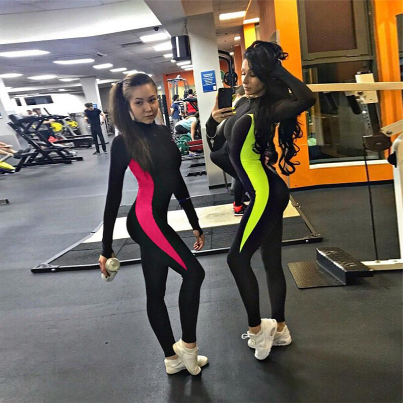 bb8c21434318 2019 Push Up Jumpsuit Zip Fitness Tracksuit Female Skinny One Piece Romper  Stretch Tights Long Sleeve Workout Sportswear Active Wear From Suroise