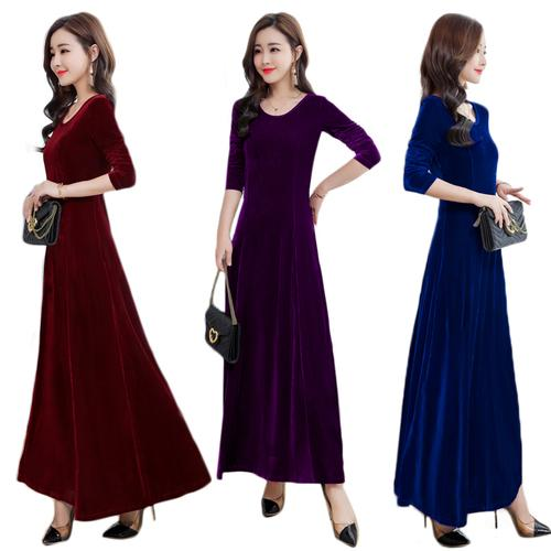 b397e797a TingYiLi Velvet Dress Autumn Winter Elegant Ladies Long Sleeve Maxi Dress  Blue Purple Green Black Long Party Dress Long Sleeve Short Dresses For  Juniors ...