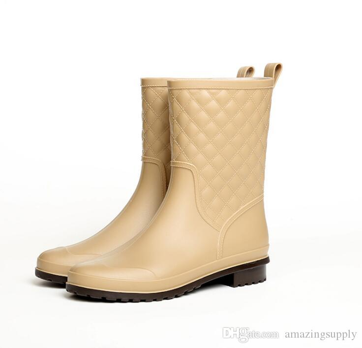 official photos afe1b 632bb 2019 winterstiefel marke design Stiefel Regen Stiefel Schuhe Frau Vollgummi  Wasserdichte Wohnungen Mode Schuhe