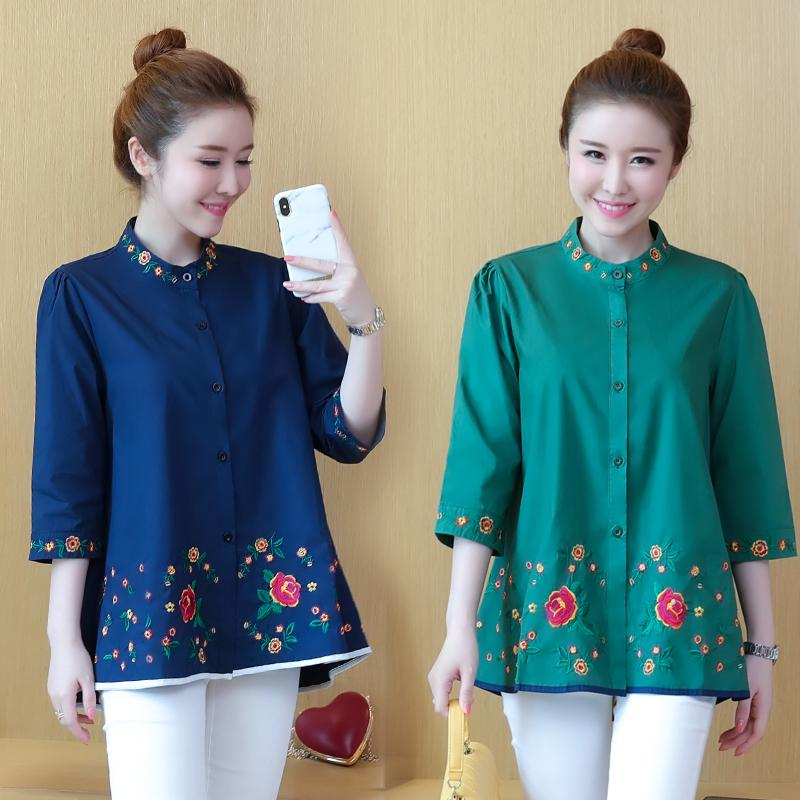 f0b444bf7f71d 2019 Plus Size Mandarin CollarSeven Quarter Sleeve Blouses Women 2018  Embroidery Green Dark Blue Shirt Spring   Autumn Ladies Tops From Worsted