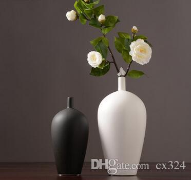 Japanese Zen ceramic dried flower vase decoration black and white creative living room table flower arranger home soft decoration