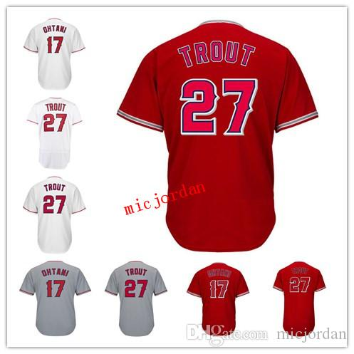 27e3454f4 2018 New Arrival 27 Mike Trout 17 Shohei Ohtani NEW Men Jersey Red ...