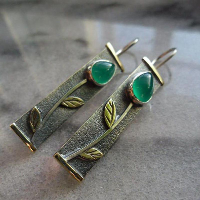 3559736982 Vintage Ethnic Gypsy Earrings For women Ladies Metal Green Flower Dangle  Drop Earrings Boho Brincos Tribal Jewelry 2019 Z5M134