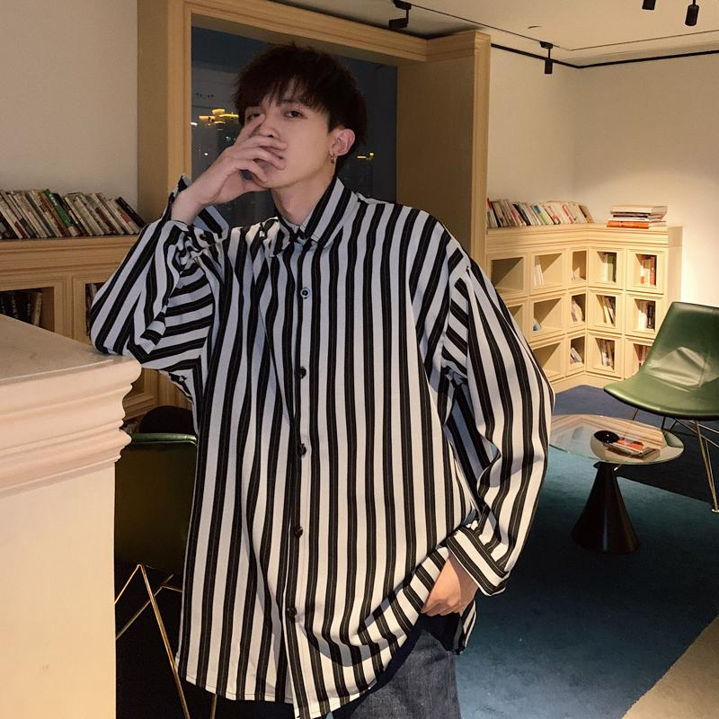 2019 Spring And Summer New Korean Version Of TheTide Simple Couple Campus Wind Casual Loose Black And White Striped Cotton Shirt