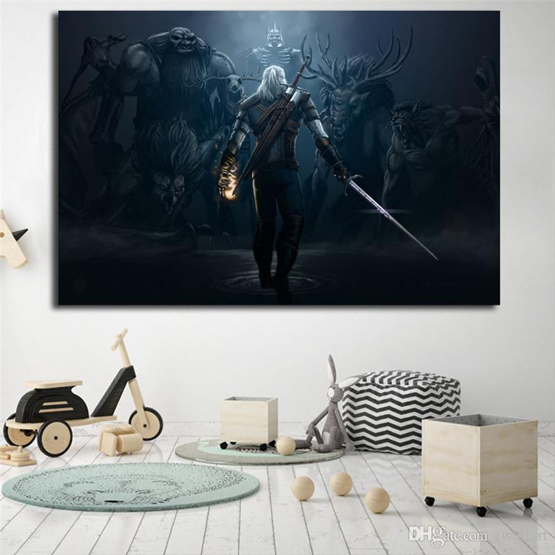 The Witcher 3 Wild Hunt Game Monster Crow Canvas Painting Oil Print Poster Wall Art HD Picture For Living Room Home Decor