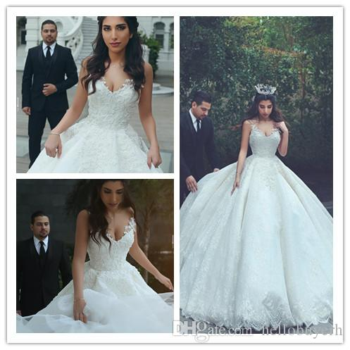 White Lace Ball Gown V Neck Plus Size Mariage Princess Wedding Dresses  vestito da sposa Casual Wedding Gowns Nigeria With Beads