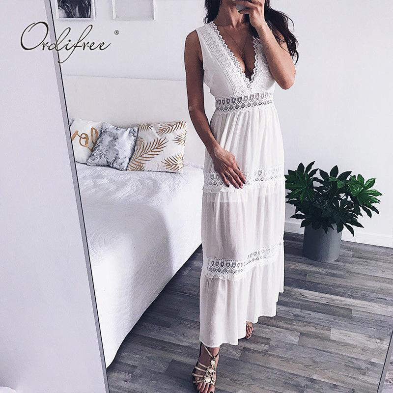 Ordifree 2019 Summer Women Long Chiffon Dress Sleeveless Sexy Backless  White Lace Crochet Maxi Beach Dress Dresses For Evening Party Party Formal  Dresses ... 7d093b8af