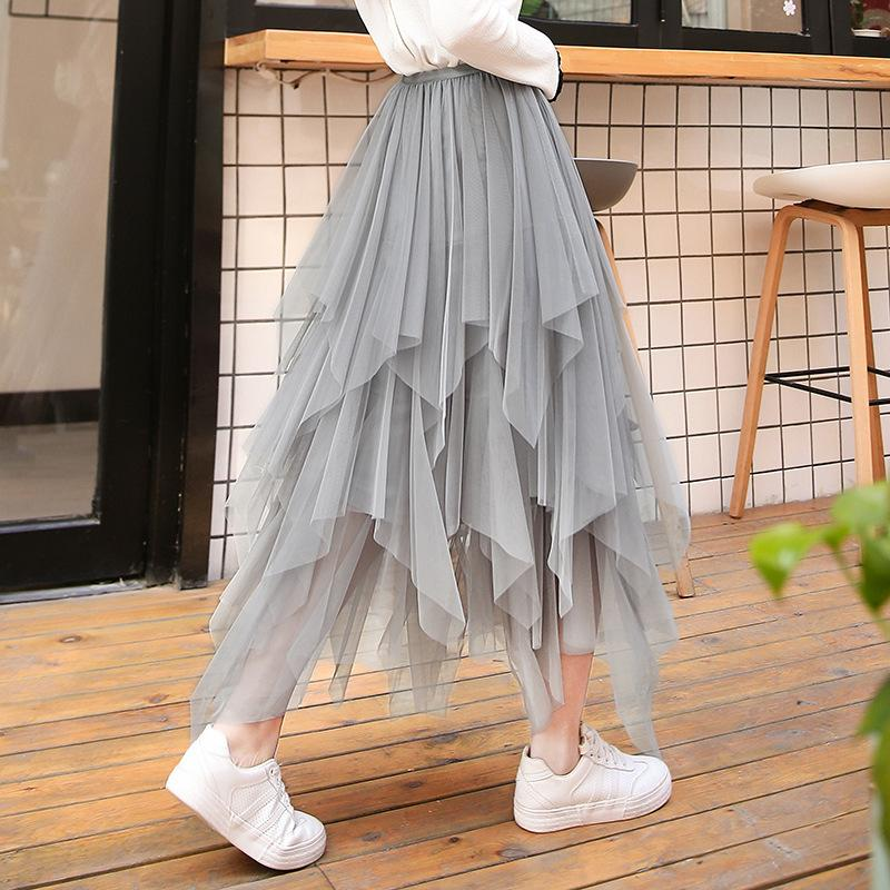 ce6822e2c Moda Falda De Tul De Las Mujeres Irregular Elástica De Cintura Alta Larga  Jupe Harajuku Falda Tutu Femme Enagua Voilet Plisado Faldas Saias