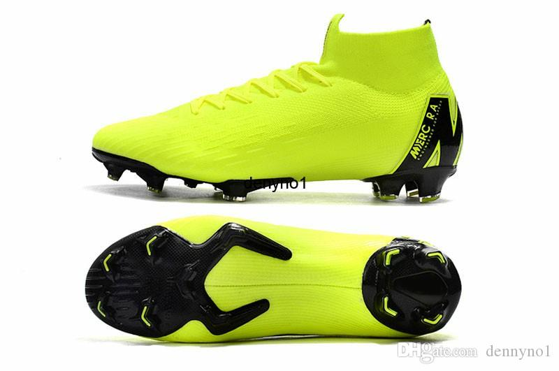 e07817799a0 2019 Mercurial Superfly VI 360 Elite FG Volt Soccer Shoes Mens Cleats KJ 6 XII  12 CR7 Ronaldo Neymar 20th Football Boots Knit Scok From Dennyno1