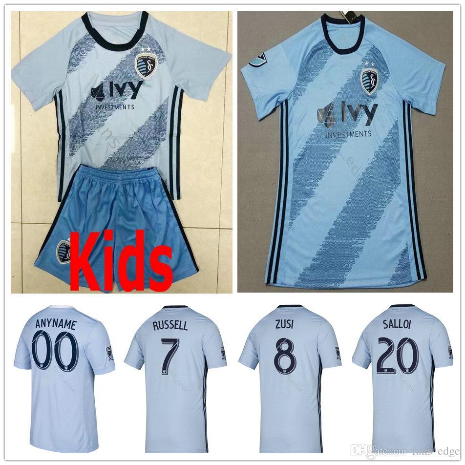 5a1d1976 2019 2020 MLS Sporting Kansas City Soccer Jerseys BESLER RUSSELL ILIE ZUSI  SALLOI ZELALEM Custom Home Blue Adult Kids Youth Football Shirt
