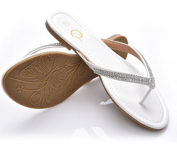 Fashion womens Flat Sandals Slippers lady teen Big Size Summer leather Rhinestone T-Strap Flip Flops Shoes black white drop shipping xd4