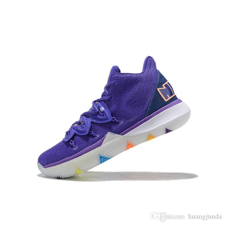 Cheap mens new kyrie 5 PE basketball shoes Purple Blacks Gold BHM Easters Multi Green kyries irving sports sneakers boots with box size 7 12