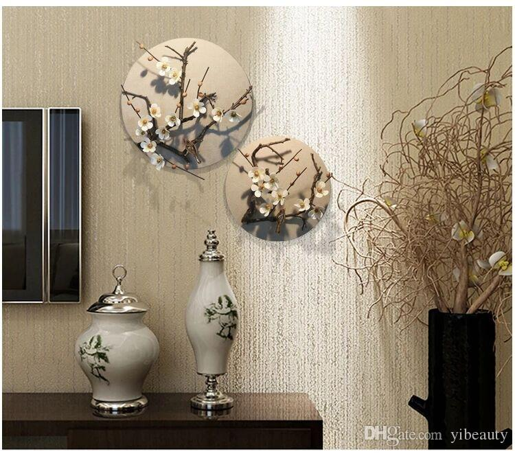 . creative living room decoration pendant  wall three dimensional round wall  ornaments  living room hanging ornaments plant flower wall hangin