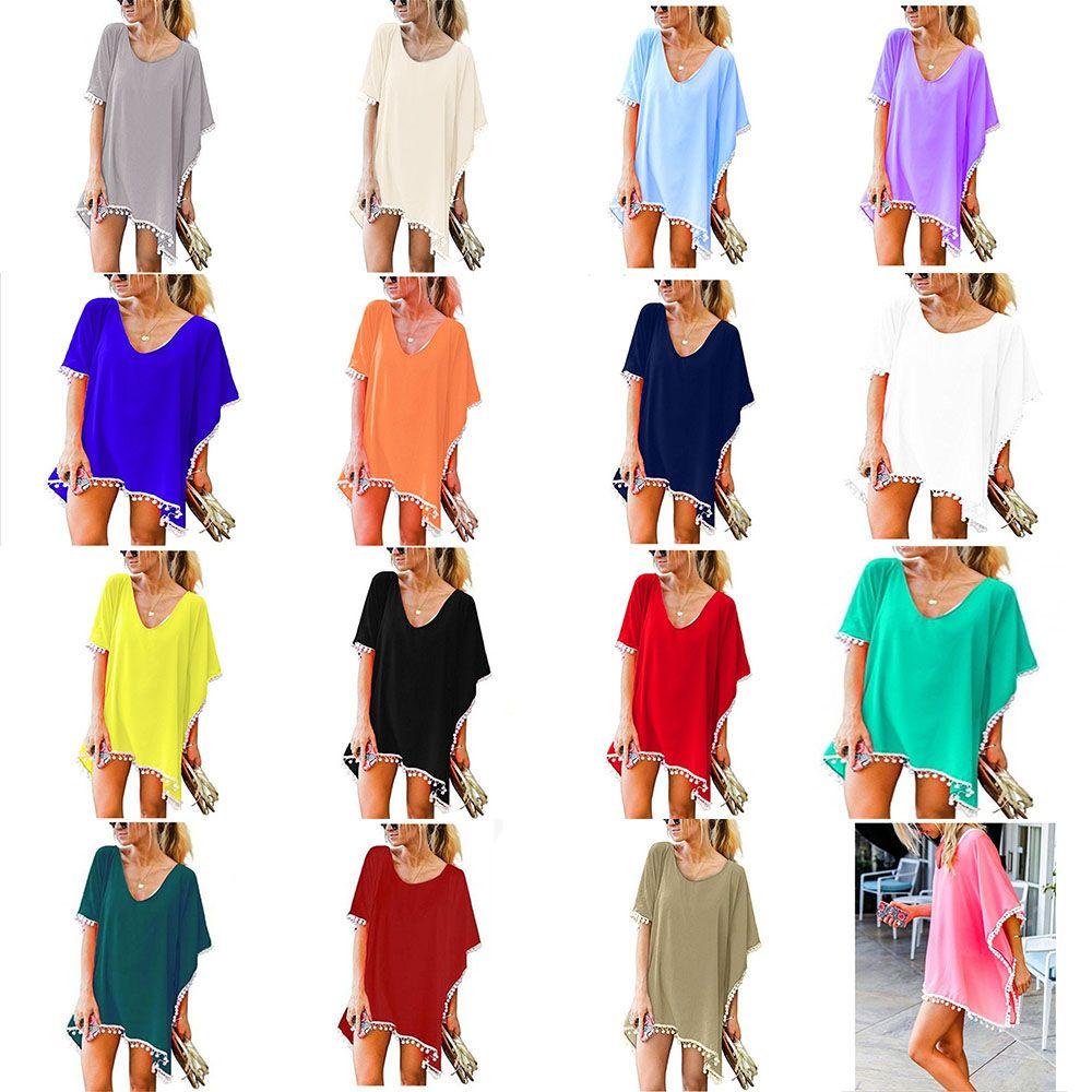 82dd6ee6b3 Compre Nueva Moda De Gasa De La Borla Vestidos De Verano Camiseta De Playa  Vestido De Manga Corta Informal Mini Camisa De Vestir Blusa De Las Mujeres  Smock ...