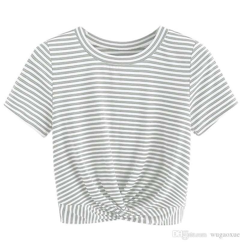 8f4f80ec5214c Striped Summer T Shirt O Neck Loose Short Sleeve Female T Shirts Cute  Korean Tshirt Twisted Front Crop Top Chemise Femme 40FY26 Latest T Shirt  Designs ...