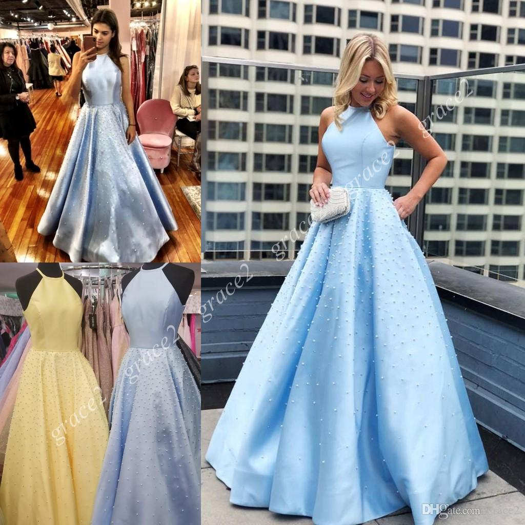 de7979577f5 Long A Line Designer Prom Dress 2019 With A Beaded Skirt Halter Neck Real  Photo Light Blue Pageant Gowns Open Back Pearls Yellow Blush Junior Prom  Dresses ...