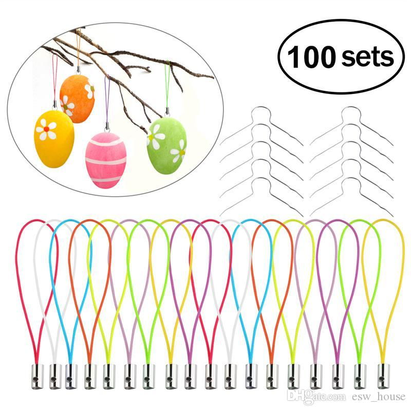 Easter Egg Hanging Strings 100pcs Iron Wires Strings Easter Decoration Cell Phone Lanyard Cords Strap Lobster Clasp Ring Rope