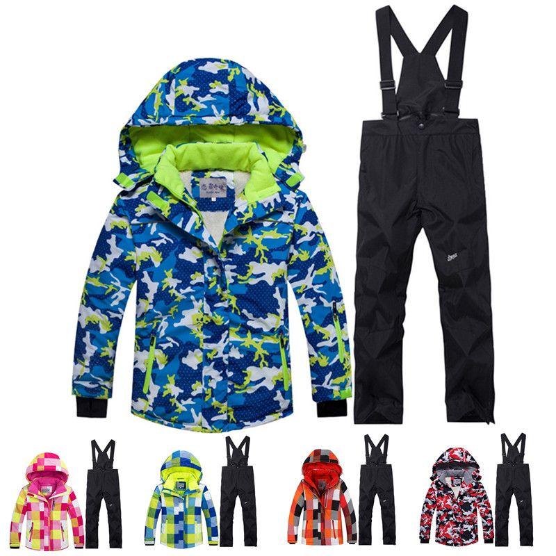 4b82bd9ef2b Compre Invierno 30 Niños Traje De Nieve Abrigos Conjunto De Trajes De Esquí  Al Aire Libre Gilr   Boy Esquí Snowboard Ropa Impermeable Chaqueta Térmica  + ...