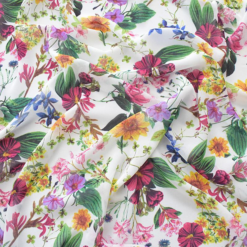 41079d7b06065 145*100cm high-grade chiffon fabric spring and summer printed fabric white  background color floral plant suitable for dress silk