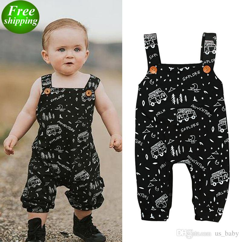 84a7eedfe30 2019 Toddler Boy Jumpsuit INS Baby Spring Summer Romper Cartoon BUS Letter  Print Toddler Sleeveless Rompers 5Size From Us baby