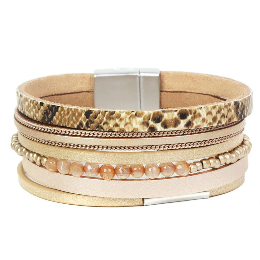 Pulseras de cuero de múltiples capas del leopardo de la vendimia del brazalete de las mujeres de los hombres de cristal del grano ancho encantos de la pulsera del abrigo de la pulsera de la joyería del partido
