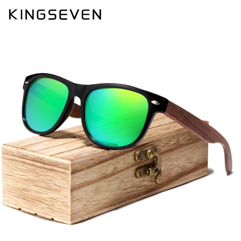 Compre KINGSEVEN 2019 Black Walnut Óculos De Sol De Madeira Polarizada  Óculos De Sol Dos Homens Óculos De Proteção UV Com Caixa De Madeira Oculos  De Sol De ... 265d1365f0
