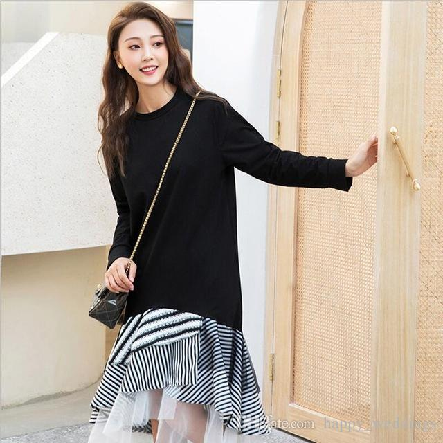 4438d7624b4 Acquista Moda Coreana Mesh Patchwork Dress Donna O Collo Manica Lunga  Asimmetrica Midi Abiti Donna Primavera 2019 Tide A $23.49 Dal  Happy_weddings | DHgate.