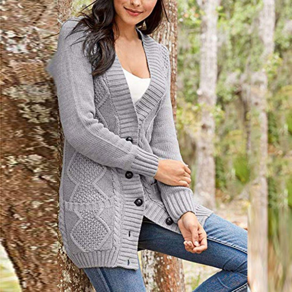 49b2b6eb18 2019 Fashion Solid Open Front Pockets Tops Sweater Women Cardigan ...