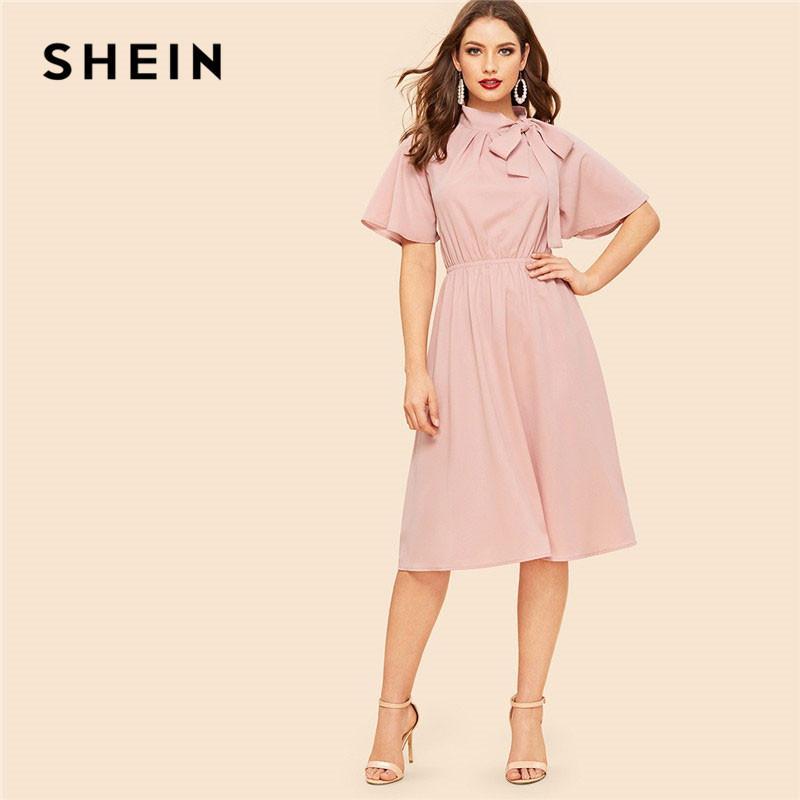 c058102f7e7c SHEIN Pink Tie Neck Flutter Sleeve High Waist Knee Length Dress Summer  Women Elegant Chiffon Butterfly Sleeve Dresses Little Black Dress Prom Dress  From ...