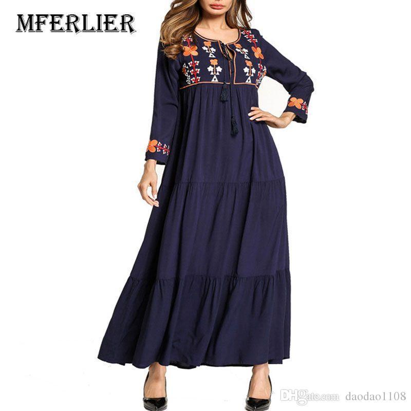 e1baca2499559 Spring Autumn Maxi dress for women O neck A line Vintage Flower Embroidery  women dress black colors