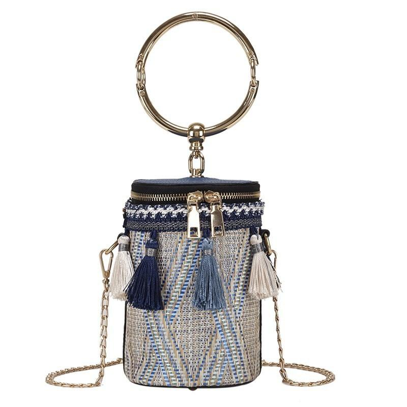 Japanese Cylindrical Style Bucket Bag Straw Barrel Ladies Messenger Bag Handbag Metal Hand Bag Handbag