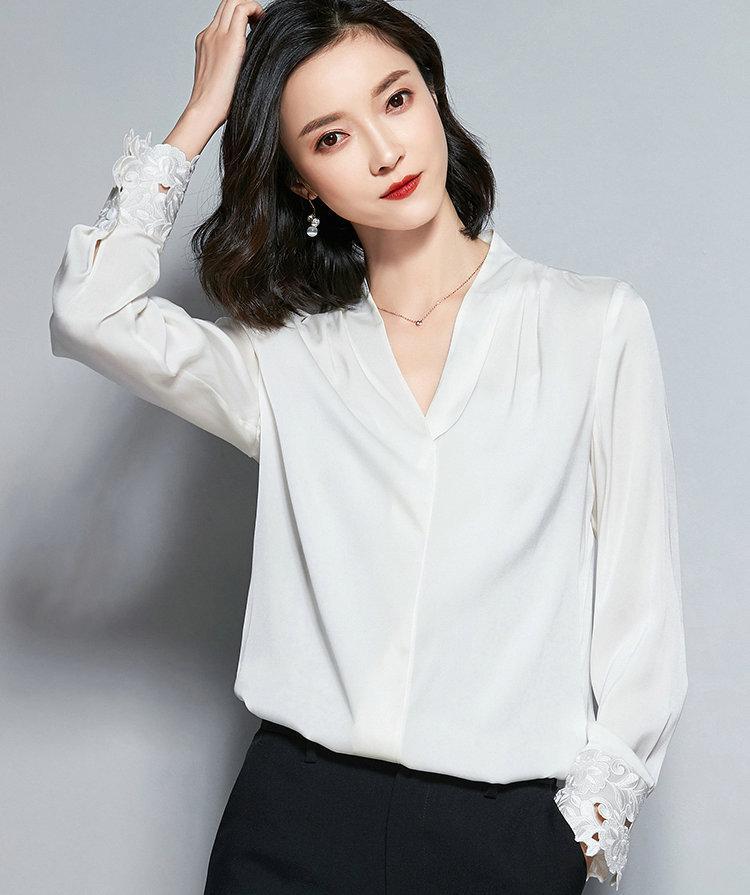 64ae9c71735ab Compre Camisa De Manga Larga Con Cuello En V Camisa De Las Mujeres Blusas  Blancas Moda Elegante Primavera Otoño Camisa De Las Señoras Casual Oficina  De ...