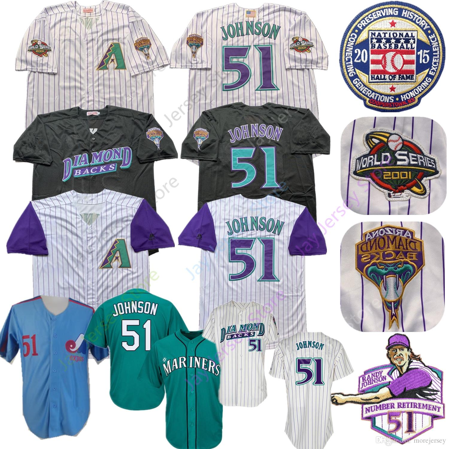wholesale dealer 8228a 0cd37 Randy Johnson Jersey Cooperstown 2001 World Series 2015 Hall of Fame  Arizona Montreal Diamondbacks Expos Mariners Jerseys Pinstripe Cream