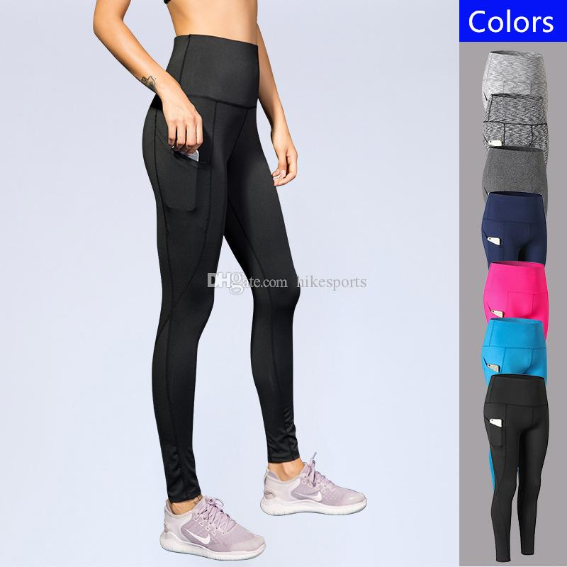 45a77f72f4ae9 2019 Women Sport Trousers Side Slant Pockets Running Pants Sexy Slim Tights Yoga  Leggings Female Elastic High Waist Long Pants Fitness Sportswear From ...