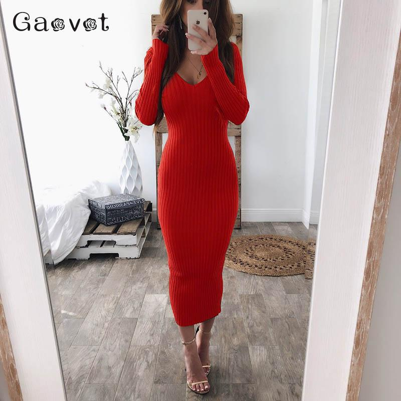 776bb3bf Gaovot Red Knitted Bodycon Dress Women 2018 Sexy V Neck Long Sleeve Slim  Winter Dress Female Midi Party Floral Dresses For Sale White Dress Woman  From ...