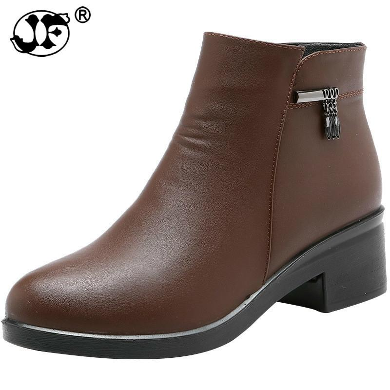 2019 New Arrivals Soft Leather Ankle Boots Women Comfortable Mid Heels Boots For Ladies Spring Autumn Women Shoes hjm98