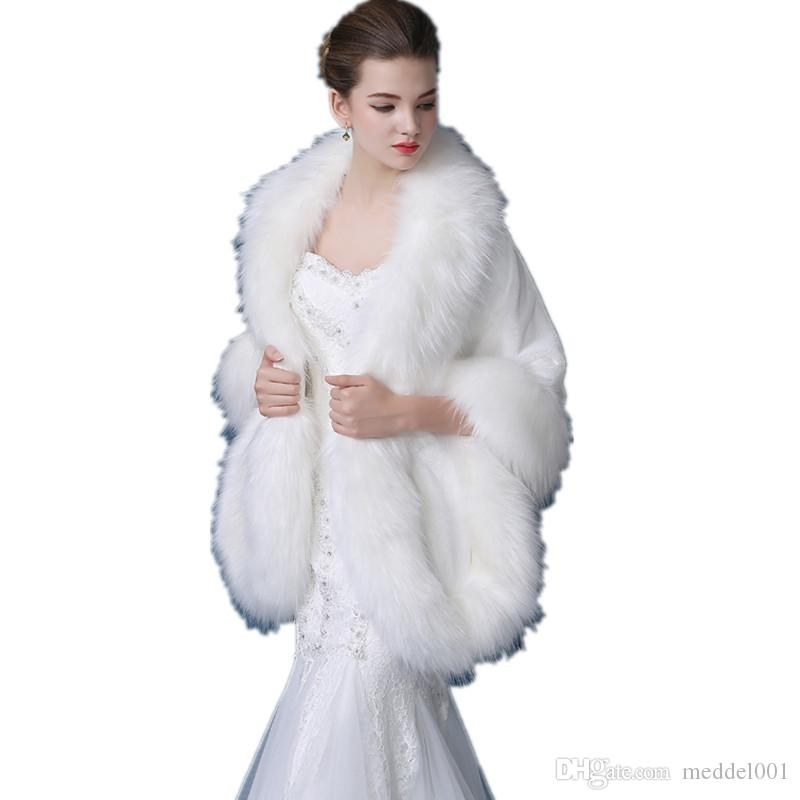 Women Faux Fox Fur Bolero Bridal Shawl Winter Warm Hairy Fur Cape Wedding Jackets Prom Wrap 2019 Female Pink Shawls Abrigo Mujer