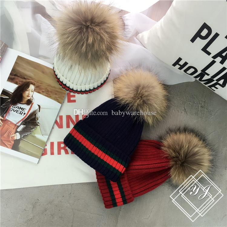 Boutique Baby Kids Warm Knitted Hats Autumn Winter Newest Mother And Children Matching Beanies Teenager Boys Girls Raccoon Wool Ball Beanies