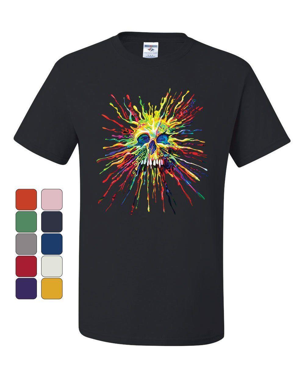 5284d118 Paint Splatter Skull T Shirt Multicolor Art Crazy Melting Drip Tee Shirt  Custom T Shirt Logo Text Photo Mens Womens T Shirt Men Awesome Cheap T  Shirts ...