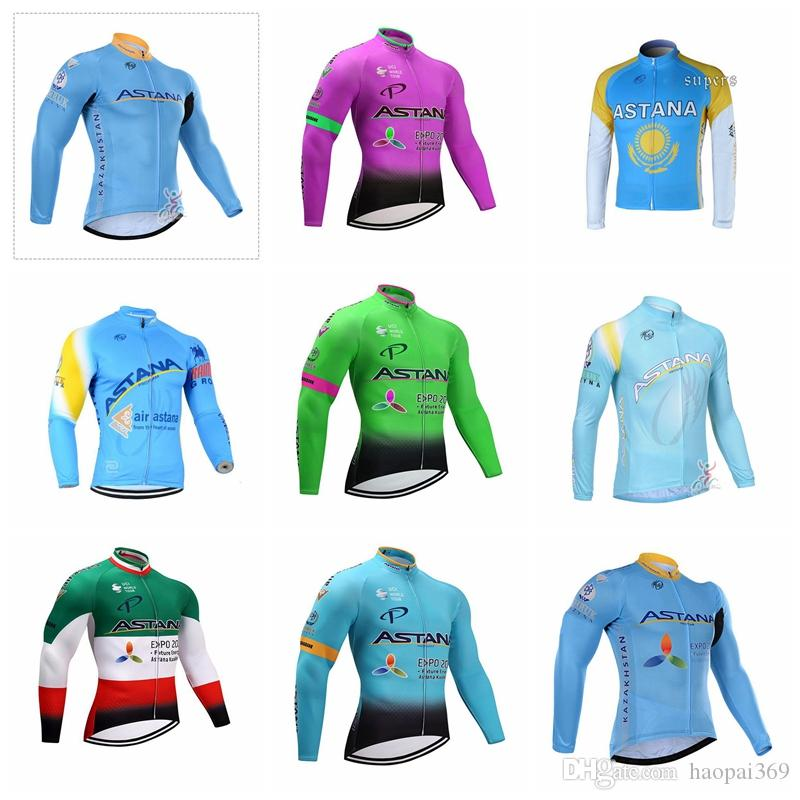 2019 Men ASTANA Spring Autumn Team Cycling Long Sleeves Jersey Breathable  Quick Dry Bicycle Wear Clothing Sportswear 012220L ASTANA Cycling Jersey  Cycling ... 6bf2ff432