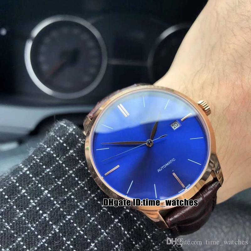 5833edbd9e84 Compre Alta Calidad NUEVA Caja De Oro Rosa 1966 49525 52 432 BB4A Esfera  Azul 8215 Movimiento Automático Reloj Para Hombre Correa De Cuero Relojes  Perfectos ...