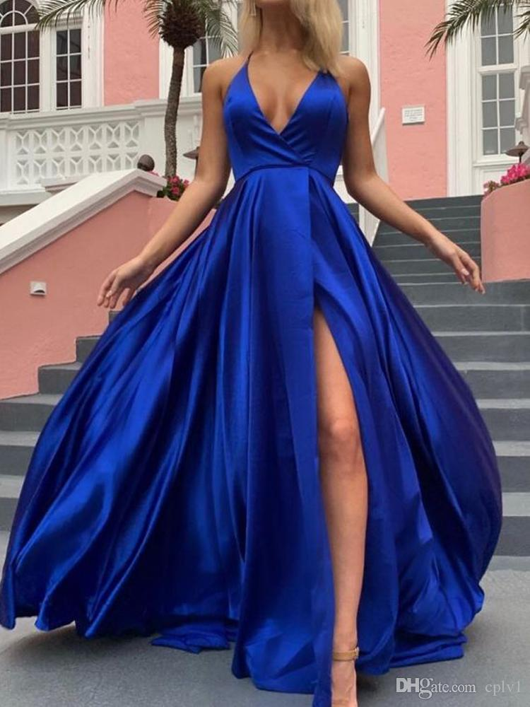 Yousef Aljasmi Evening Dress A-Line Halter Evening Prom Dresses Sleeveless Royal Blue Sweep Train Sexy Split Runway Fashion Evening Dress