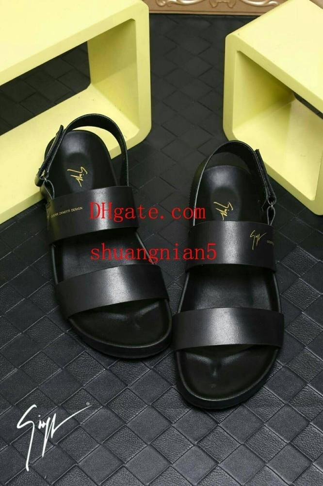 2019 luxe off High quality white pure black men's sandals two-word drag leather high-end widening more comfortable wear